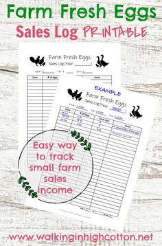 A simple sales log PRINTABLE for small farm and homestead income tracking. Laying Chickens, Chickens Backyard, Farm Sales, Homestead Farm, 1000 Life Hacks, Small Farm, Survival Skills, Eating Well, Farmers