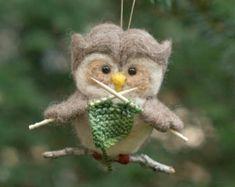 Naald vilten Owl Ornament - breien