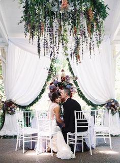 dreamy berry toned garden wedding reception - photo by Austin Gros