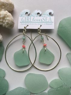 Silver plated Hawaiian Seaglass hoop earrings  by GirllovesSea