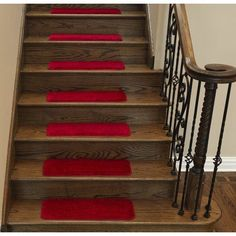 Ottomanson Comfort Collection Soft Solid (Non-Slip) Plush Carpet Stair Treads, 9 inch x 26 inch, 7 or 14 Pack, Red