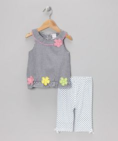 Take a look at this Black Gingham Tunic & Polka Dot Capri Pants - Infant & Toddler by Coney Island Kids on #zulily today!