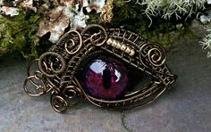 Gothic Steampunk Bronze Evil Eye Pendant Red by twistedsisterarts