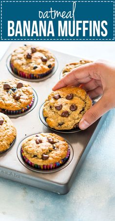 Healthy Oatmeal Banana Chocolate Chip Muffins   Easy Oatmeal Breakfast Muffins   Almost No Flour Oatmeal Muffins   Skinny Baked Muffin Recipe
