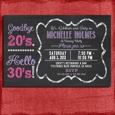 30th, 40th, 50th Chalkboard Style Birthday Invitation 4x6 or 5x7 Invitation for adults-DIY Printable on Etsy, $15.00