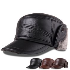 L  Middle-aged First Layer Cowhide Windproof Trapper Hat Thicken Plus  Velvet Hunting Hat 9d940c408ea6