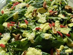 Delicious green avocado goji berries salad