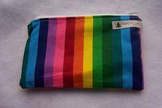 Small Rainbow Stripe Mama Cloth Make Up Wet Bag. $7.00, via Etsy.