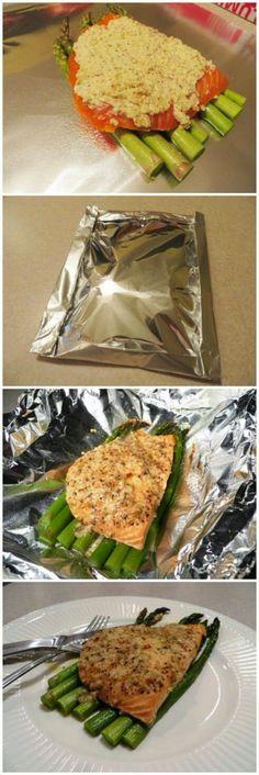 Garlic Parmesan Salmon  Asparagus Foil Pack