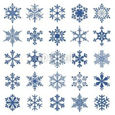 Vector: collection of 25 snowflakes
