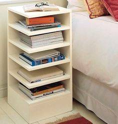 Great way to store textbooks for homework or bedside reading material in a teen's room, boy or girl.