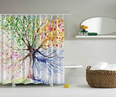 Morning Sunbeams Over Countryside Farmhouse Colorful Sky Carpathian Bathroom Accessories Ukraine Ambesonne Room Decorations Shower Curtain Set Green Salmon Europe 69W X 70L Inches