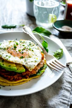 These tacos check all the boxes: breakfast, lunch or dinner! Sweet Potato Pinto Bean Open-Face Breakfast Tacos with a Fried Egg are a quick-to-pull-together meal. vegetarian + gf
