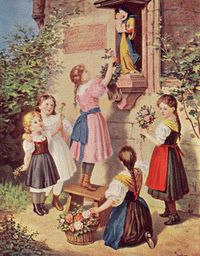 Catholic Children at a Wayside Shrine of The Virgin Mary