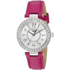 Juicy Couture Cali Analog Display Japanese Quartz Pink Watch (570 BRL) ❤ liked on Polyvore featuring jewelry, watches, quartz watches, pink jewelry, pink quartz jewelry, quartz wrist watch and pink wrist watch