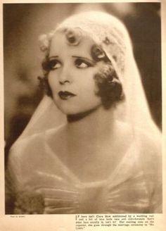 1920s bridal hair - 1920s-veil-clara-bow - 1920s wedding 1920s wedding, wedding veils, clarabow, weddings, red lips, movie stars, bridal hair, bows, clara bow