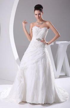 Organza Sweetheart Bridal Dress - Order Link: http://www.theweddingdresses.com/organza-sweetheart-bridal-dress-twdn5659.html - Embellishments: Draped , Beaded , Rhinestone , Sequin , Paillette; Length: Court Train; Fabric: Organza; Waist: Natural - Price: 306.99USD