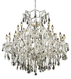 """Elegant Lighting 2801D36C/RC Maria Theresa Collection Dining Room Hanging Fixture D36"""" x H36"""" Chrome Finish (Royal Cut Crystal)"""