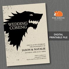 "Printable Game of Thrones ""Wedding is Coming"" Engagement Party Invitation / Customized Digital File / Printing Services Available by FoxGroveDesigns on Etsy Hens Party Invitations, Free Printable Birthday Invitations, Couples Shower Invitations, Engagement Party Invitations, Invites, Invitation Card Design, Invitation Cards, Invitation Ideas, Game Of Thrones"