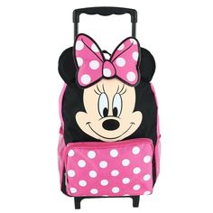 5412696a3b4a Disney Kids  14 Inch Big Face Minnie Mouse Rolling Backpack