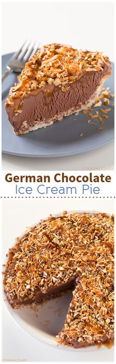 I love anything German Chocolate. German Chocolate Ice Cream Pie - Made with a coconut crust then layered with chocolate ice cream, toasted pecans, toasted coconut and caramel sauce! Easy to make and completely delicious! Ice Cream Pies, Ice Cream Desserts, Frozen Desserts, Frozen Treats, Just Desserts, Delicious Desserts, Dessert Recipes, Yummy Food, German Chocolate
