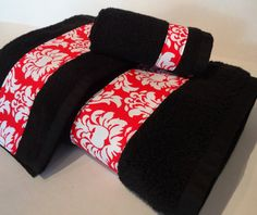 Black and Red Damask Bath Towels Bathroom towels, red and black bathroom, by August Ave, $10.00