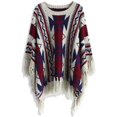 Chicwish Aztec Fringe Knitted Poncho in Navy ($50) ❤ liked on Polyvore featuring sweaters, jackets, outerwear, cardigans, tops, blue, fringe poncho, tribal poncho and aztec poncho
