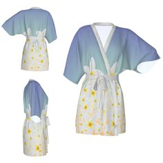 Kimono robe,floral robe,tropical flower robe,pastel blue robe,white flowers,Bridesmaid robe,getting ready robes,Bridesmaids gift,Bridal Robe by OkopipiDesign on Etsy