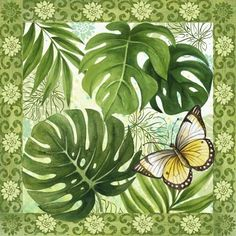 healthy snacks for preschoolers to bring to school ideas 2017 fall Fabric Painting, Painting On Wood, Watercolor Paintings, Leaf Art, Tropical Leaves, Pretty Art, Pictures To Draw, Beautiful Butterflies, Vintage Images