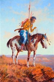 Artwork by Olaf C. Seltzer, Indian Rider, Made of oil on board kp