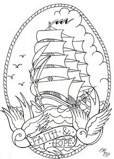 Traditional Ship Tattoo Flash - ideas in 2016
