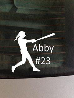 Girl Baseball/ Softball with name and   car by GreenMountainVinyl, $5.00