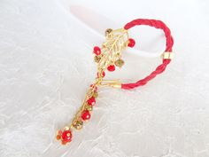 Gold Leaf Bracelet  Gold Plated Bracelet Red by sevinchjewelry, $28.00