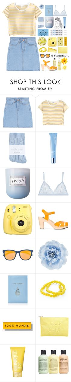 """""""sunshine on a cloudy day"""" by madeline-jm ❤ liked on Polyvore featuring Monki, CASSETTE, Johnstons, shu uemura, Fresh, Cosabella, Fujifilm, Daphne, Swedish Hasbeens and Mykita"""