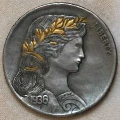 JON DAKE - WOMAN WITH GOLD INLAY* - 1936 BUFFALO PROFILE Hobo Nickel, Buffalo, Classic Style, Coins, Carving, Profile, Woman, Artist, Gold