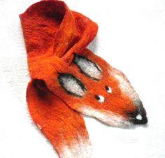 Fox scarf Felted Wool Scarf Fox Animals Scarves Felt by Skandic