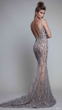 Berta Fall 2017, sleeveless illusion bateau neck beaded trumpet evening dresses bv