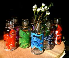 Set of 3 Tiny Bud Vases Featuring Hand-painted Octopi. $20.00, via Etsy.