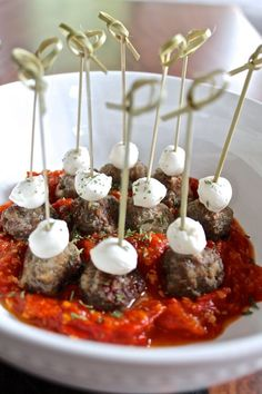 Meatballs on a Stick - an easy recipe for an appetizer to serve at your next party | via The Kittchen