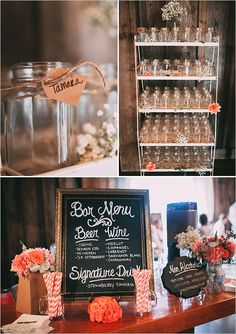 wedding drinking glasses and bar menu: Not Too Shabby Chic Wedding on Wedding Chicks Chic Wedding, Perfect Wedding, Summer Wedding, Rustic Wedding, Dream Wedding, Wedding Reception, Wedding Menu Cards, Wedding Signs, Plan Your Wedding