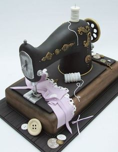 Emma Jayne Cake Design - For all your cake decorating supplies, please visit… Cake Icing, Fondant Cakes, Eat Cake, Cupcake Cakes, Shoe Cakes, Sewing Cake, Sewing Machine Cake, Pretty Cakes, Beautiful Cakes