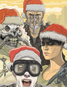 "ahimsa-bitches: "" landomcquade: "" MAD MAX: FURY ROAD Xmas cards now available! Inside reads ""Oh, What A Holiday, What A Lovely Holiday!"" Doof Warrior on the left."