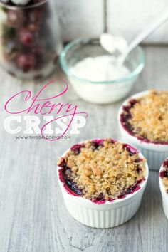 Cherry Crisp from www.thisgalcooks.com #cherryrecipes #fruitcrisp #vegan