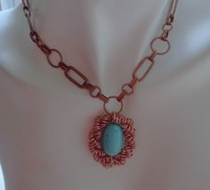 Coiled Copper Turquoise Pendant Choker Necklace  by lanesamarie
