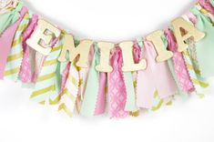 Pink Mint and Gold Nursery Decor - Maternity Photo Prop - Name Banner - Birthday Banner - Garland - Photoshoot Prop These name banners are