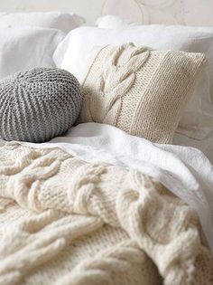 Love the wool cable knit pillow and blanket, and the mixture of creams and whites with a touch of grey. Winter Bedroom, Home Bedroom, Bedroom Decor, Winter Bedding, Bedrooms, Bedroom Ideas, Dream Bedroom, Sweet Home, Knit Pillow