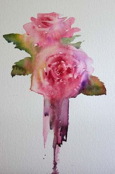 Roses given to me as a gift and painted as a study in my studio this morning