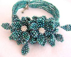 Teal 7 Strands Fresh Water Pearl Wired Flowers Collar by VIRR