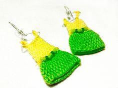 Kolczyki sukienki // Earrings dress #knit #crochet #doll  #handmade #gift #gifts #earrings