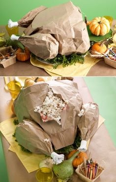 Paper turkey stuffed with popcorn - for the kid's Thanksgiving table